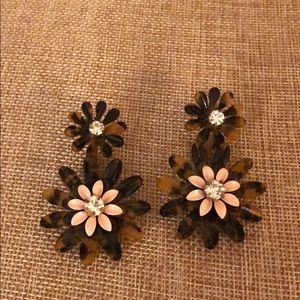 J Crew tortoise flower earrings